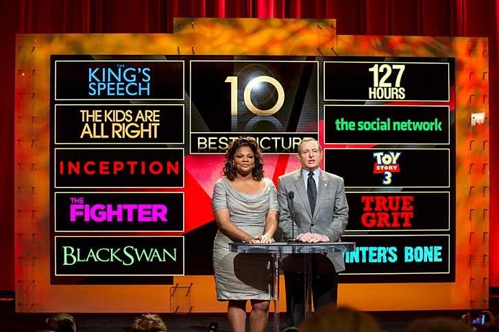 Oscarsvinnaren Mo'Nique och filmakademins ordförande Tom Sherak presenterade de nominerade under en presskonferens idag. Foto: A.M.P.A.S.